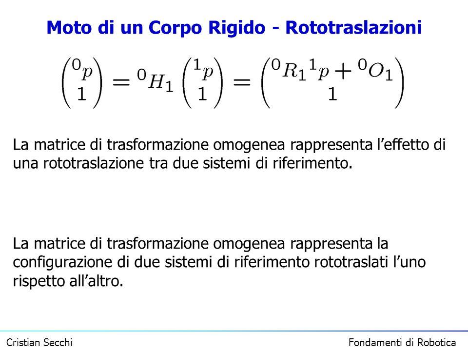 Cristian Secchi Fondamenti di Robotica Moto di un Corpo Rigido - Rototraslazioni La matrice di trasformazione omogenea rappresenta leffetto di una rot