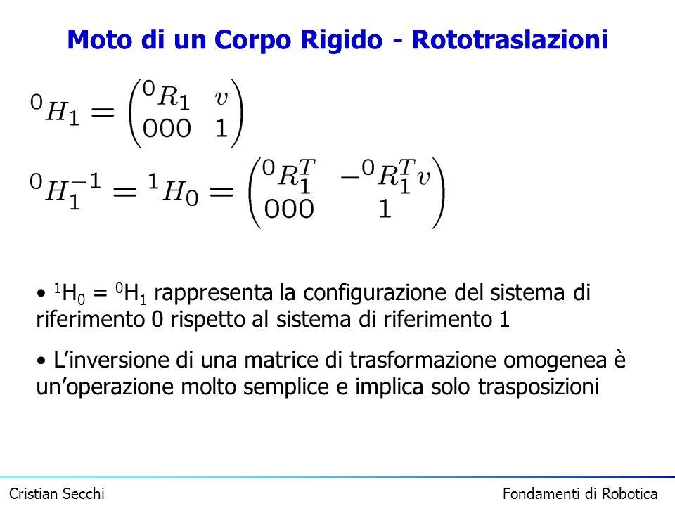 Cristian Secchi Fondamenti di Robotica Moto di un Corpo Rigido - Rototraslazioni 1 H 0 = 0 H 1 rappresenta la configurazione del sistema di riferiment