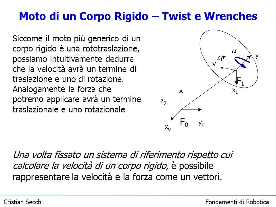 Cristian Secchi Fondamenti di Robotica Moto di un Corpo Rigido – Twist e Wrenches F0F0 y0y0 x0x0 z0z0 F1F1 x1x1 y1y1 z1z1 Siccome il moto più generico