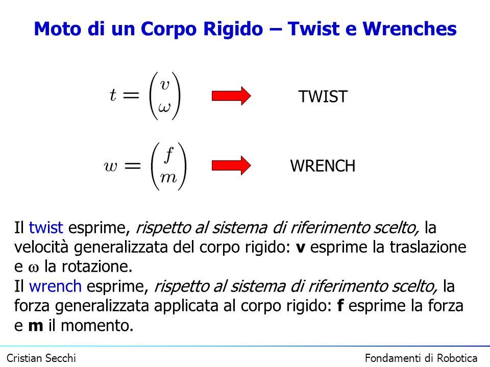 Cristian Secchi Fondamenti di Robotica Moto di un Corpo Rigido – Twist e Wrenches TWIST WRENCH Il twist esprime, rispetto al sistema di riferimento sc