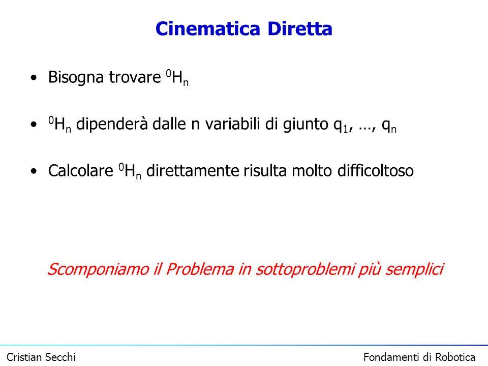 Cristian Secchi Fondamenti di Robotica Cinematica Diretta Bisogna trovare 0 H n 0 H n dipenderà dalle n variabili di giunto q 1, …, q n Calcolare 0 H