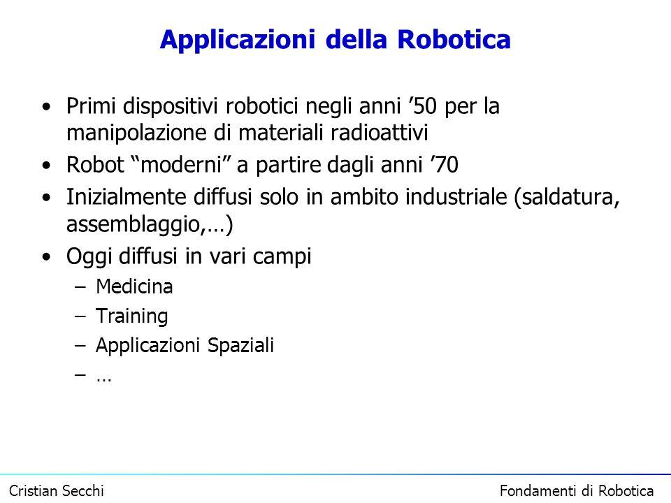 Cristian Secchi Fondamenti di Robotica Applicazioni della Robotica Primi dispositivi robotici negli anni 50 per la manipolazione di materiali radioatt