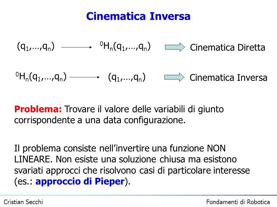 Cristian Secchi Fondamenti di Robotica Cinematica Inversa (q 1,…,q n ) 0 H n (q 1,…,q n ) Cinematica Diretta (q 1,…,q n ) 0 H n (q 1,…,q n ) Cinematic