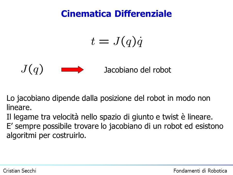 Cristian Secchi Fondamenti di Robotica Cinematica Differenziale Jacobiano del robot Lo jacobiano dipende dalla posizione del robot in modo non lineare