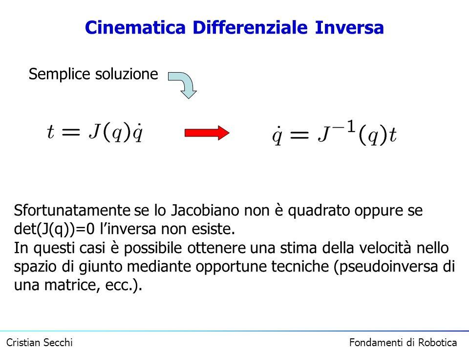 Cristian Secchi Fondamenti di Robotica Cinematica Differenziale Inversa Sfortunatamente se lo Jacobiano non è quadrato oppure se det(J(q))=0 linversa