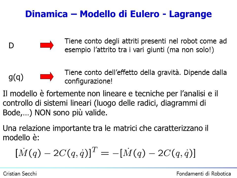 Cristian Secchi Fondamenti di Robotica Dinamica – Modello di Eulero - Lagrange D Tiene conto degli attriti presenti nel robot come ad esempio lattrito