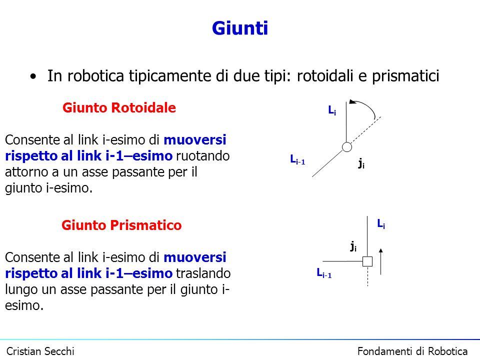 Cristian Secchi Fondamenti di Robotica Giunti In robotica tipicamente di due tipi: rotoidali e prismatici Giunto Rotoidale Consente al link i-esimo di