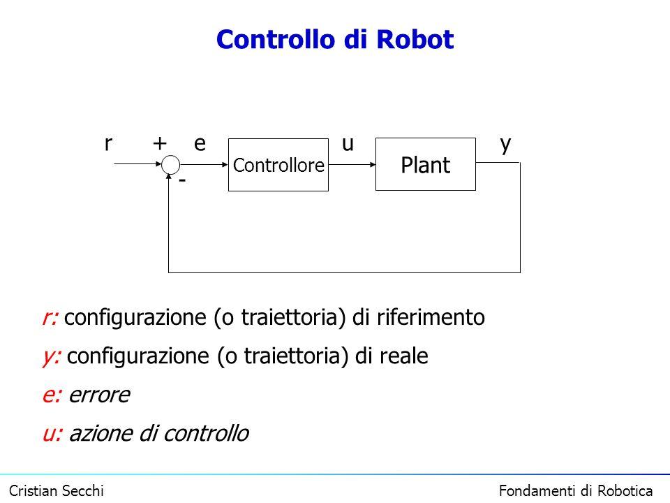 Cristian Secchi Fondamenti di Robotica Controllo di Robot Plant Controllore + - reuy r: configurazione (o traiettoria) di riferimento y: configurazion