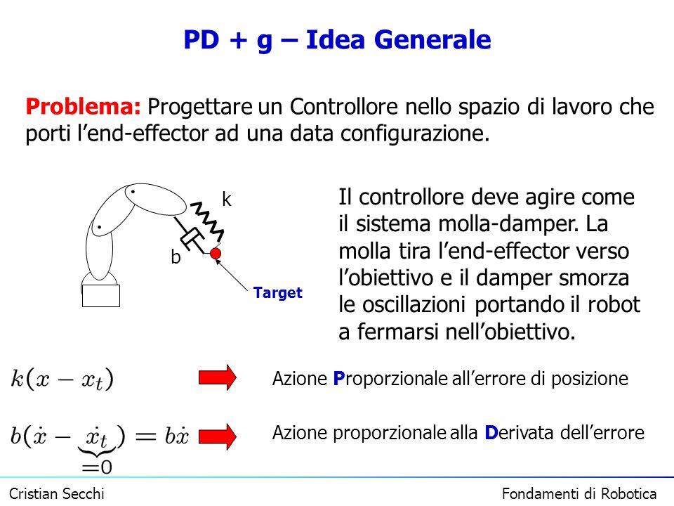 Cristian Secchi Fondamenti di Robotica PD + g – Idea Generale Problema: Progettare un Controllore nello spazio di lavoro che porti lend-effector ad un