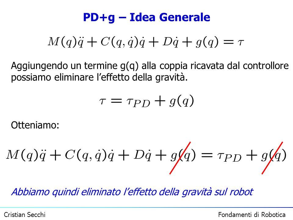 Cristian Secchi Fondamenti di Robotica PD+g – Idea Generale Aggiungendo un termine g(q) alla coppia ricavata dal controllore possiamo eliminare leffet