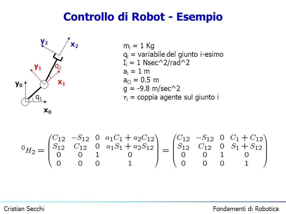 Cristian Secchi Fondamenti di Robotica Controllo di Robot - Esempio x0x0 y0y0 x1x1 y1y1 x2x2 y2y2 q1q1 q2q2 m i = 1 Kg q i = variabile del giunto i-es