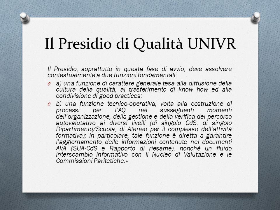 Il Presidio di Qualità UNIVR Il Presidio, soprattutto in questa fase di avvio, deve assolvere contestualmente a due funzioni fondamentali: O a) una fu