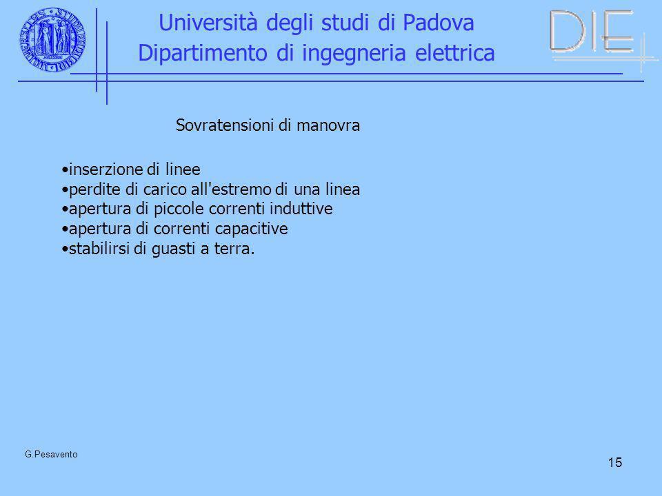 15 Università degli studi di Padova Dipartimento di ingegneria elettrica G.Pesavento Sovratensioni di manovra inserzione di linee perdite di carico al