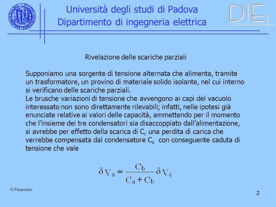 2 Università degli studi di Padova Dipartimento di ingegneria elettrica G.Pesavento Rivelazione delle scariche parziali Supponiamo una sorgente di ten