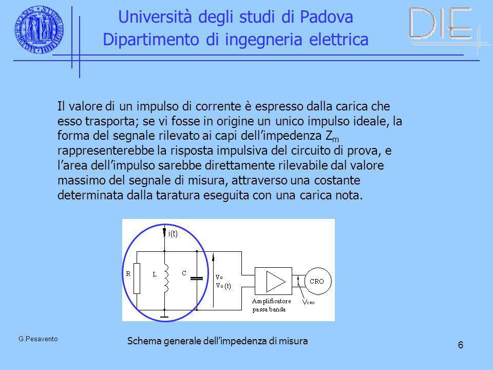 6 Università degli studi di Padova Dipartimento di ingegneria elettrica G.Pesavento Il valore di un impulso di corrente è espresso dalla carica che es