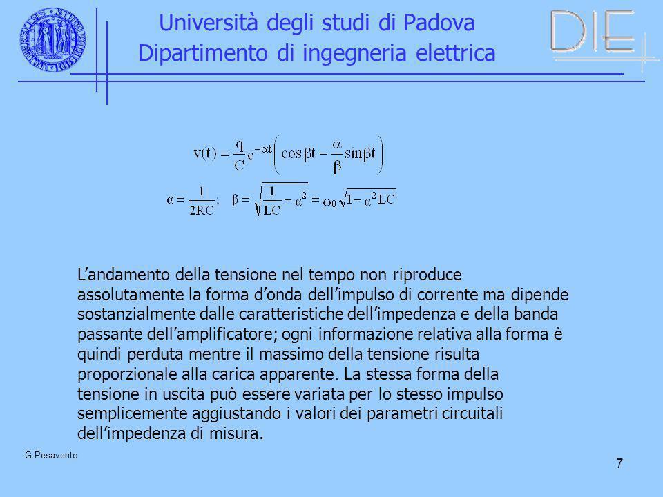 7 Università degli studi di Padova Dipartimento di ingegneria elettrica G.Pesavento Landamento della tensione nel tempo non riproduce assolutamente la
