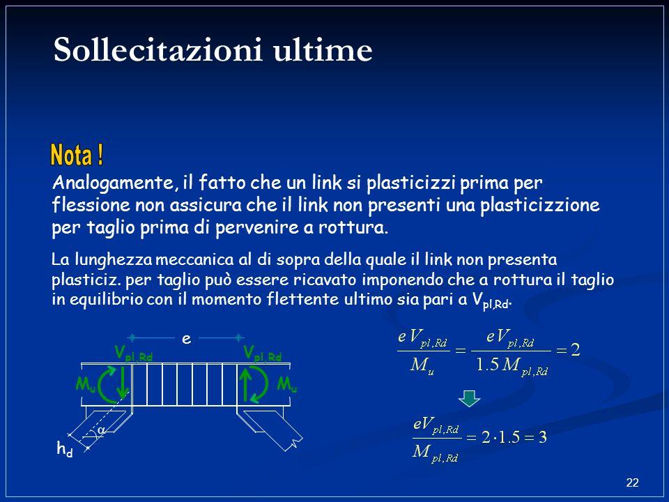 Sollecitazioni ultime Analogamente, il fatto che un link si plasticizzi prima per flessione non assicura che il link non presenti una plasticizzione p