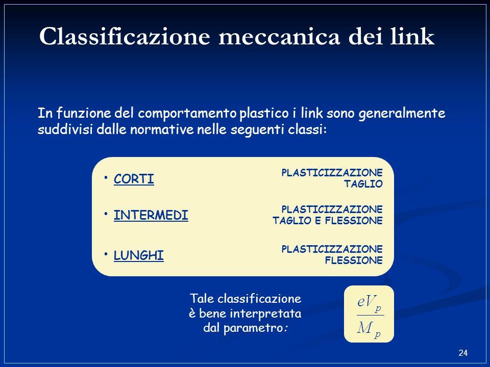 Tale classificazione è bene interpretata dal parametro: In funzione del comportamento plastico i link sono generalmente suddivisi dalle normative nell