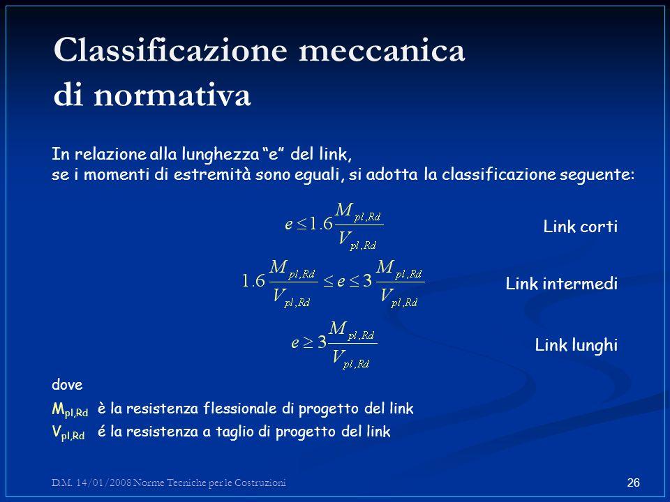 Classificazione meccanica di normativa In relazione alla lunghezza e del link, se i momenti di estremità sono eguali, si adotta la classificazione seg