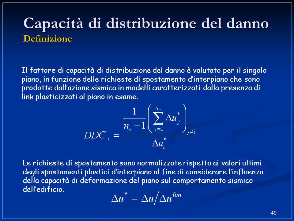 49 Capacità di distribuzione del danno Definizione Il fattore di capacità di distribuzione del danno è valutato per il singolo piano, in funzione dell