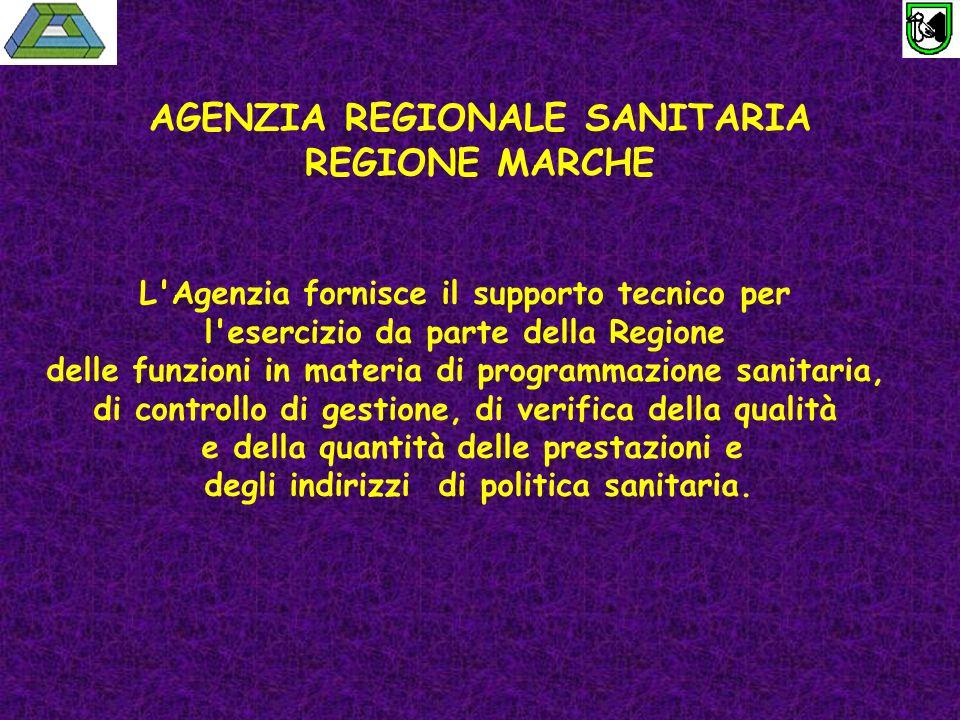 AGENZIA REGIONALE SANITARIA REGIONE MARCHE L'Agenzia fornisce il supporto tecnico per l'esercizio da parte della Regione delle funzioni in materia di
