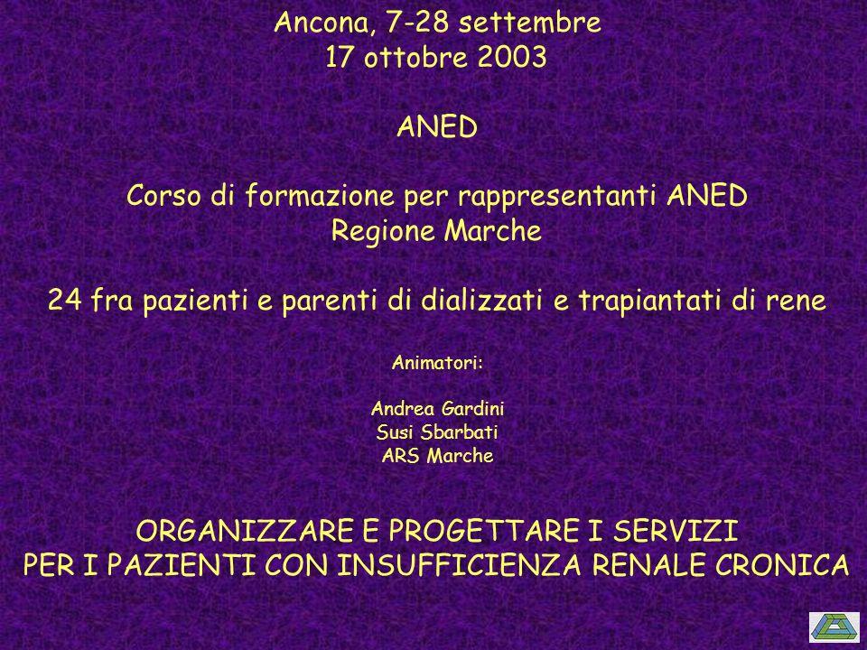 Ancona, 7-28 settembre 17 ottobre 2003 ANED Corso di formazione per rappresentanti ANED Regione Marche 24 fra pazienti e parenti di dializzati e trapi