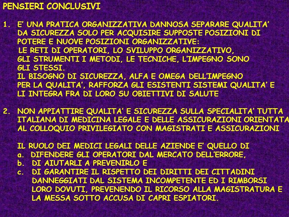 PENSIERI CONCLUSIVI 1.E UNA PRATICA ORGANIZZATIVA DANNOSA SEPARARE QUALITA DA SICUREZZA SOLO PER ACQUISIRE SUPPOSTE POSIZIONI DI POTERE E NUOVE POSIZI
