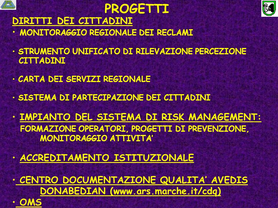 Società Italiana per la Qualità dellAssistenza Sanitaria ( www.siquas.it)www.siquas.it Fondata nel 1984 da Franco Perraro come Società Italiana per la Verifica e Revisione della Qualità dellAssistenza Sanitaria (V.R.Q – traduzione del Ministero della Sanità del termine Quality Assurance in Health Care – WHO, 1982) Società scientifica multiprofessionale e interdisciplinare Socio fondatore e Membro istituzionale di : International Society for Quality in Health Care (ISQua – www.isqua.au ) 1985www.isqua.au European Society for Quality in Health Care ESQH (www.esqh.net), 1997www.esqh.net Membro FISM (www.fism.it)www.fism.it Richiesto laccreditamento al Ministero per la Salute