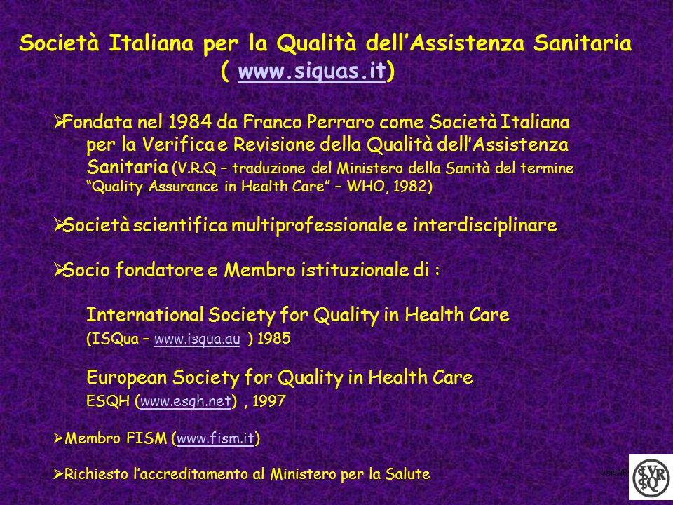 Società Italiana per la Qualità dellAssistenza Sanitaria ( www.siquas.it)www.siquas.it Fondata nel 1984 da Franco Perraro come Società Italiana per la