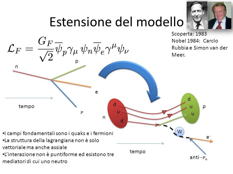 Estensione del modello tempo n p e tempo d u e-e- anti e I campi fondamentali sono i quaks e i fermioni La struttura della lagrangiana non è solo vett