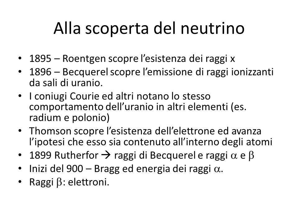 Alla scoperta del neutrino 1895 – Roentgen scopre lesistenza dei raggi x 1896 – Becquerel scopre lemissione di raggi ionizzanti da sali di uranio. I c