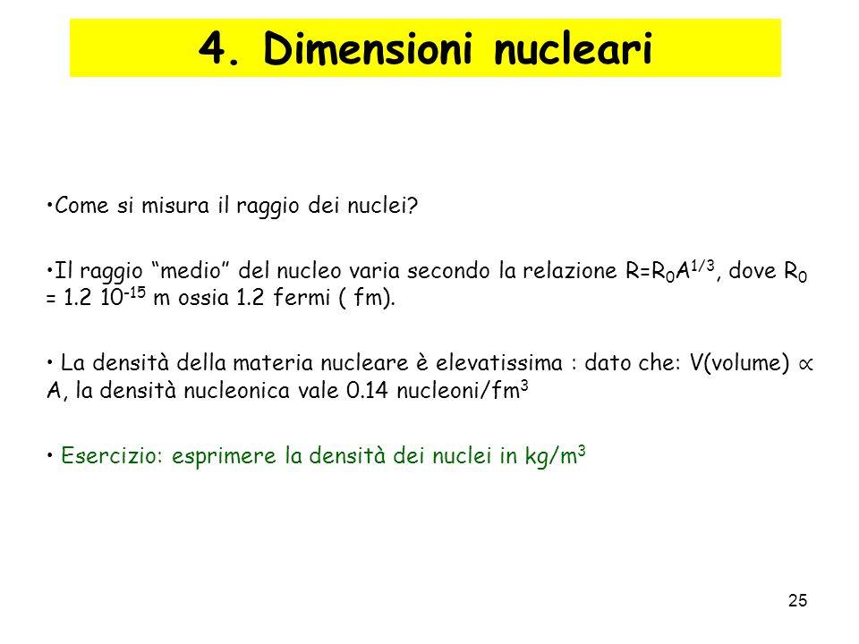 25 4. Dimensioni nucleari Come si misura il raggio dei nuclei? Il raggio medio del nucleo varia secondo la relazione R=R 0 A 1/3, dove R 0 = 1.2 10 -1