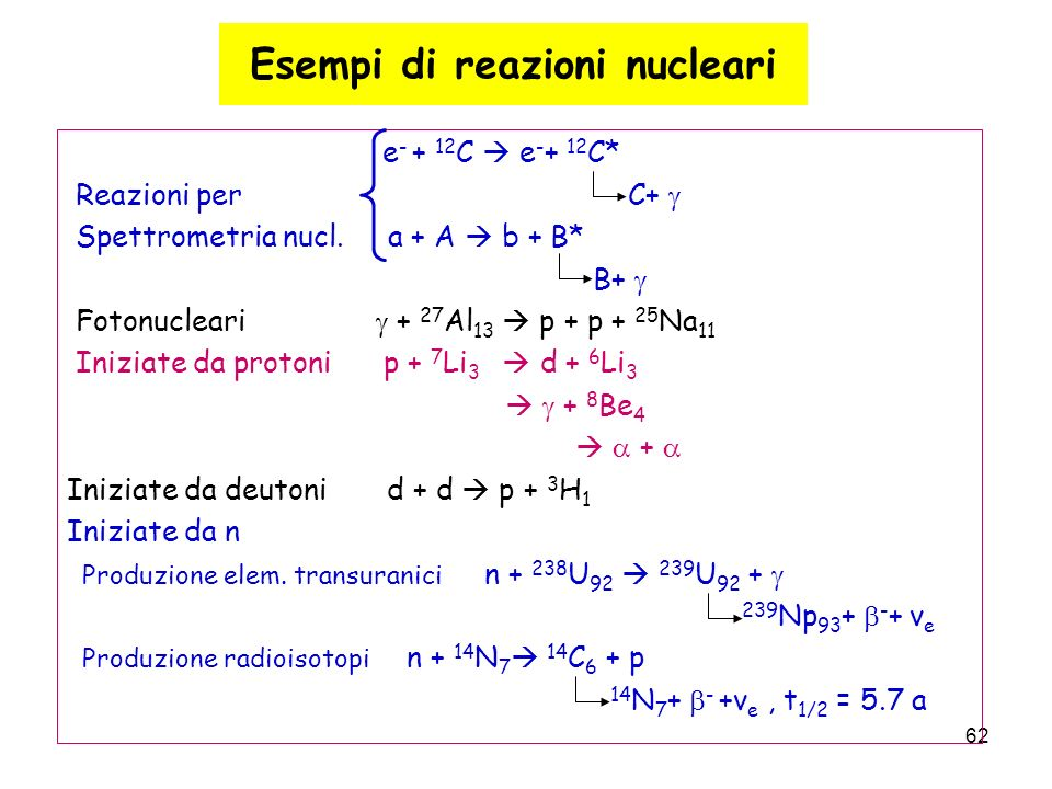 62 Esempi di reazioni nucleari e - + 12 C e - + 12 C* Reazioni per C+ Spettrometria nucl. a + A b + B* B+ Fotonucleari + 27 Al 13 p + p + 25 Na 11 Ini