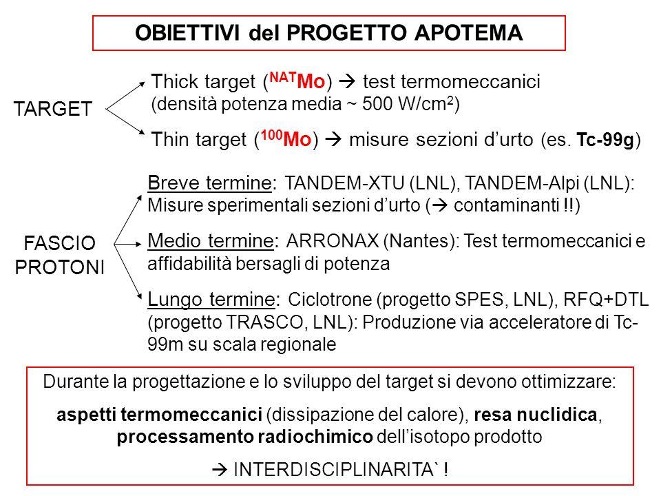 TARGET Thick target ( NAT Mo) test termomeccanici (densità potenza media ~ 500 W/cm 2 ) Thin target ( 100 Mo) misure sezioni durto (es. Tc-99g) FASCIO