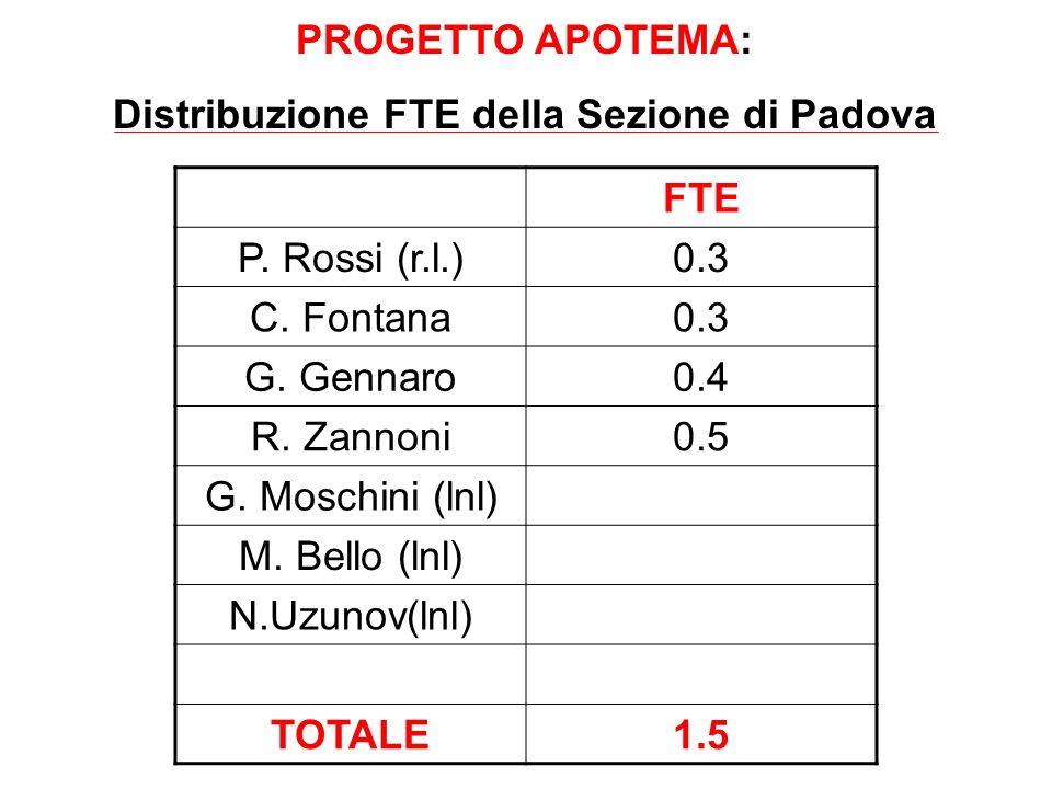 FTE P. Rossi (r.l.)0.3 C. Fontana0.3 G. Gennaro0.4 R. Zannoni0.5 G. Moschini (lnl) M. Bello (lnl) N.Uzunov(lnl) TOTALE1.5 PROGETTO APOTEMA: Distribuzi