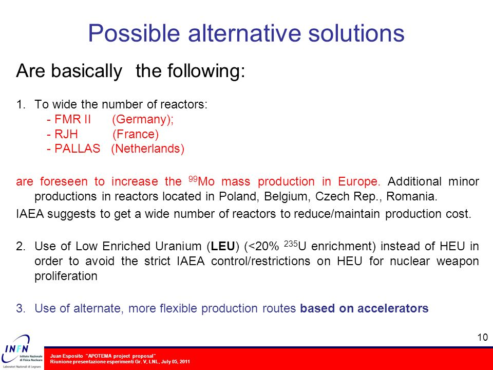 Juan Esposito APOTEMA project proposal Riunione presentazione esperimenti Gr. V, LNL, July 05, 2011 Possible alternative solutions Are basically the f