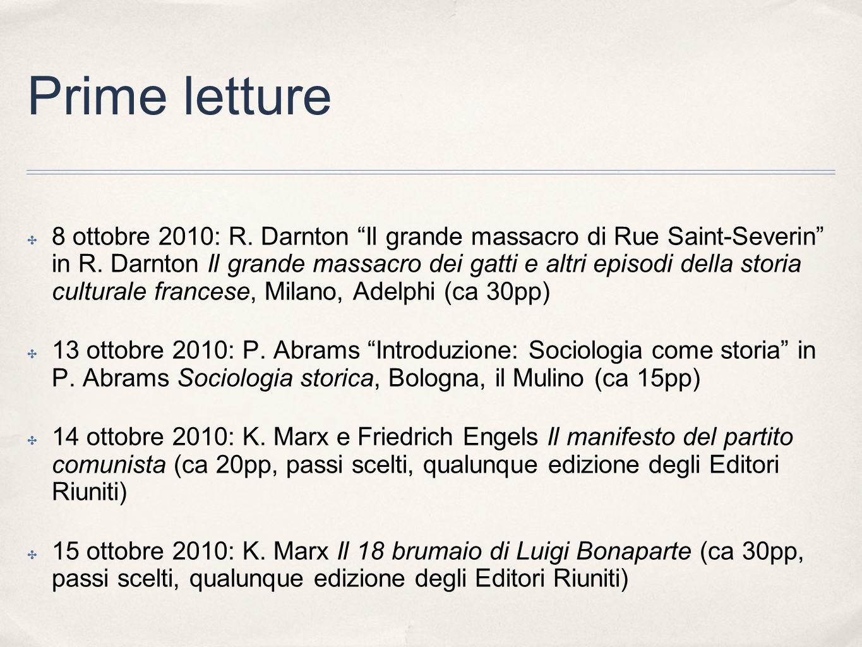Prime letture 8 ottobre 2010: R. Darnton Il grande massacro di Rue Saint-Severin in R. Darnton Il grande massacro dei gatti e altri episodi della stor