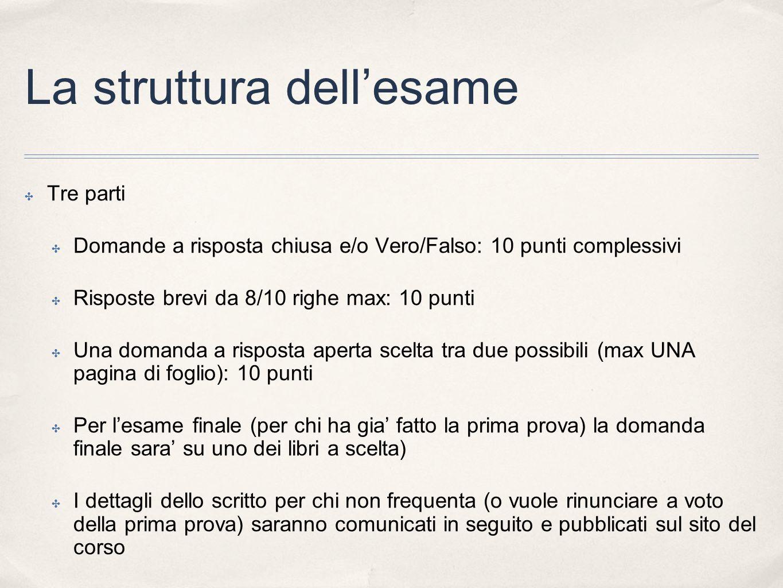La struttura dellesame Tre parti Domande a risposta chiusa e/o Vero/Falso: 10 punti complessivi Risposte brevi da 8/10 righe max: 10 punti Una domanda