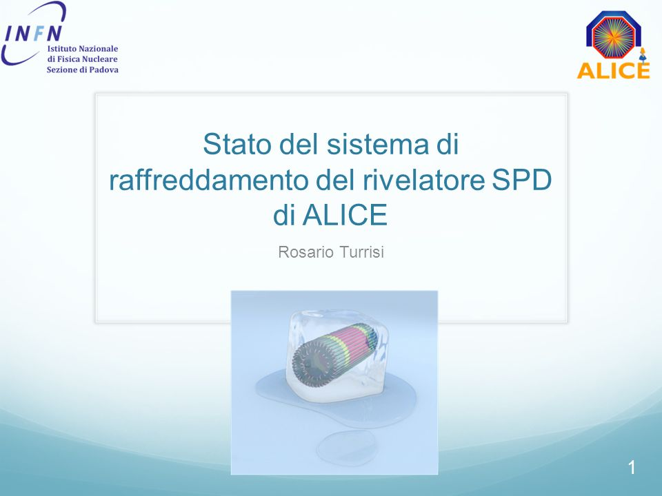 Rosario Turrisi - Stato del sistema di raffreddamento del rivelatore SPD - Consiglio di Sezione 9 Luglio 2012 Cooling: working principle Joule-Thomson cycle sudden expansion + evaporation at constant enthalpy Fluid C 4 F 10 : dielectric, chemically stable, non-toxic, convenient eos Nominal evaporation: 1.9 bar, 15°C now: difficult procurement 2 ~40m liquid pipes 6/4 mm ~35m gas pipes 12/10-10/8 mm heaters PP4 PP1PP3 p, T Filters (60μm) liquid pump capillaries condenser compressor cooling tube enthalpy pressure two knobs: liquid-side pressure flow gas-side pressure temperature PP=patch panel