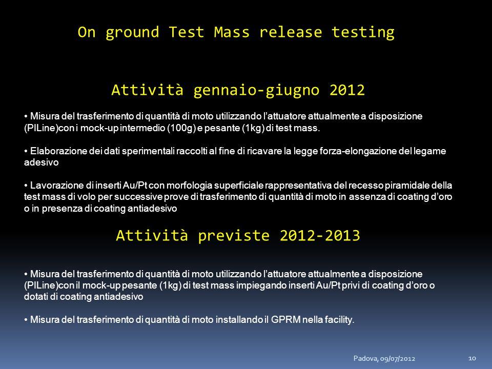On ground Test Mass release testing Attività gennaio-giugno 2012 Misura del trasferimento di quantità di moto utilizzando lattuatore attualmente a disposizione (PILine)con i mock-up intermedio (100g) e pesante (1kg) di test mass.