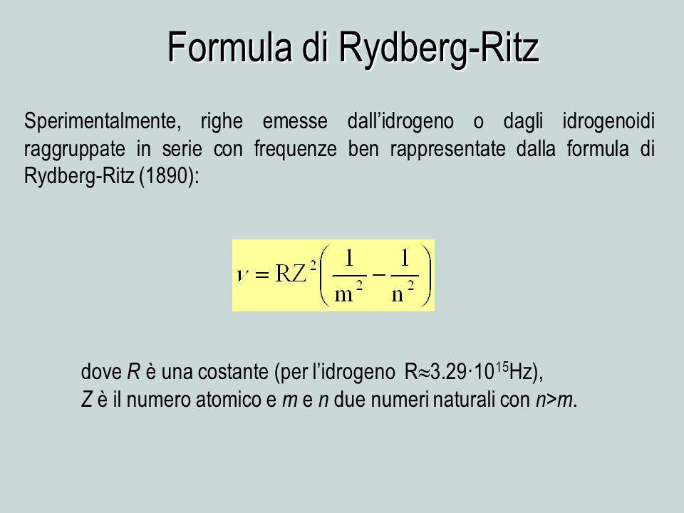 Formula di Rydberg-Ritz Sperimentalmente, righe emesse dallidrogeno o dagli idrogenoidi raggruppate in serie con frequenze ben rappresentate dalla for