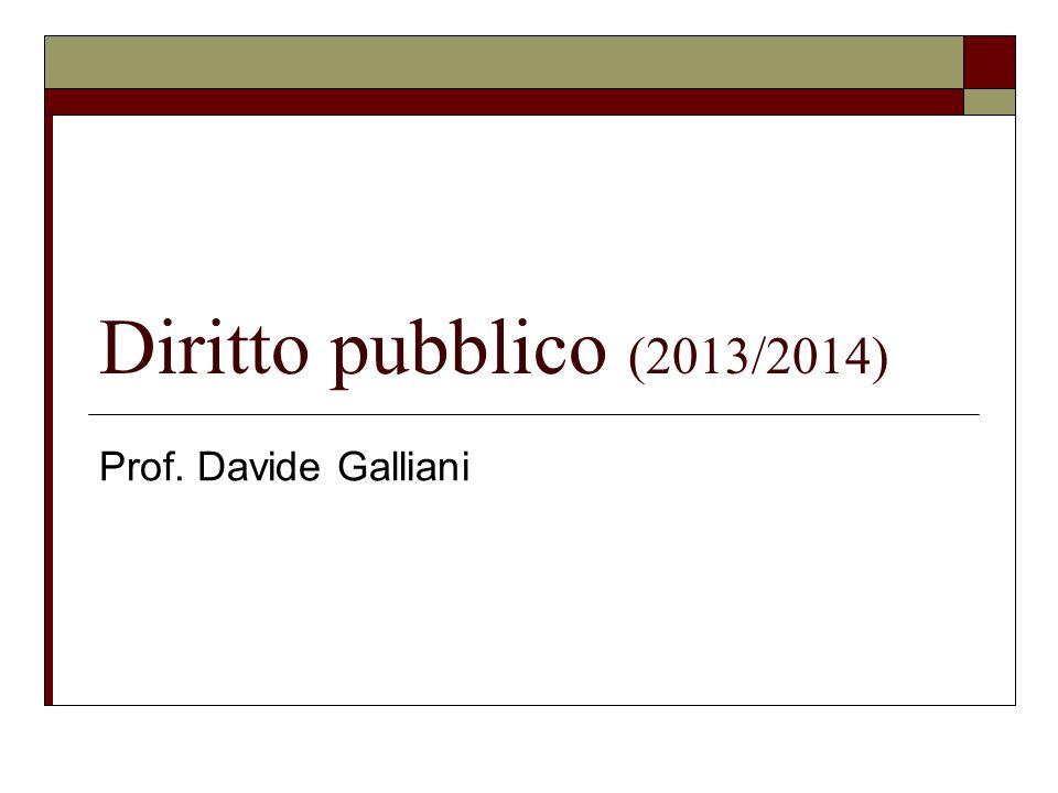 Diritto pubblico (2013/2014) Prof. Davide Galliani