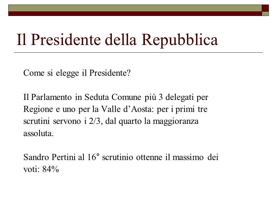 Il Presidente della Repubblica Come si elegge il Presidente? Il Parlamento in Seduta Comune più 3 delegati per Regione e uno per la Valle dAosta: per