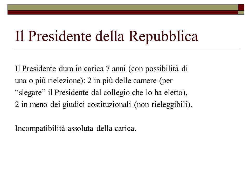 Il Presidente della Repubblica Il Presidente dura in carica 7 anni (con possibilità di una o più rielezione): 2 in più delle camere (per slegare il Pr