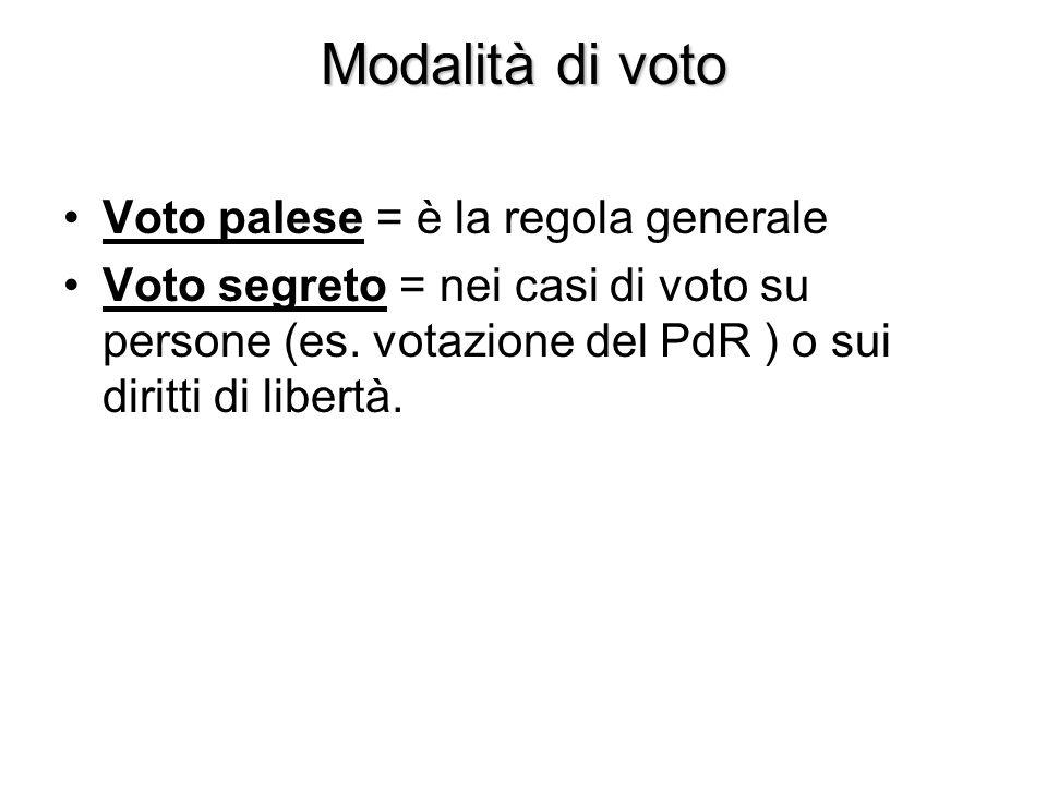 Modalità di voto Voto palese = è la regola generale Voto segreto = nei casi di voto su persone (es. votazione del PdR ) o sui diritti di libertà.