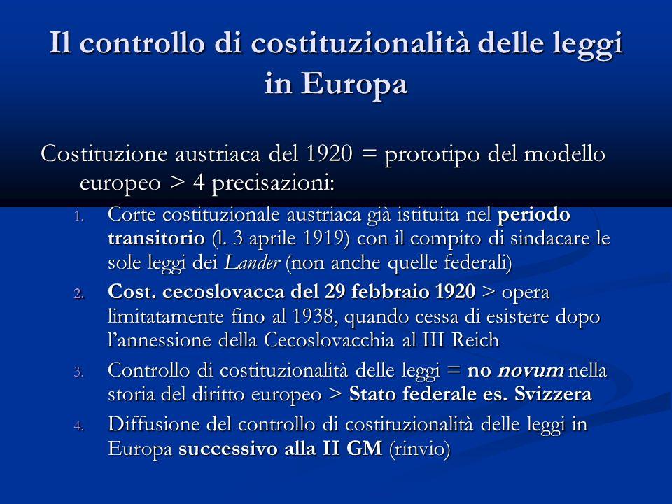 Il controllo di costituzionalità delle leggi in Europa Costituzione austriaca del 1920 = prototipo del modello europeo > 4 precisazioni: 1.