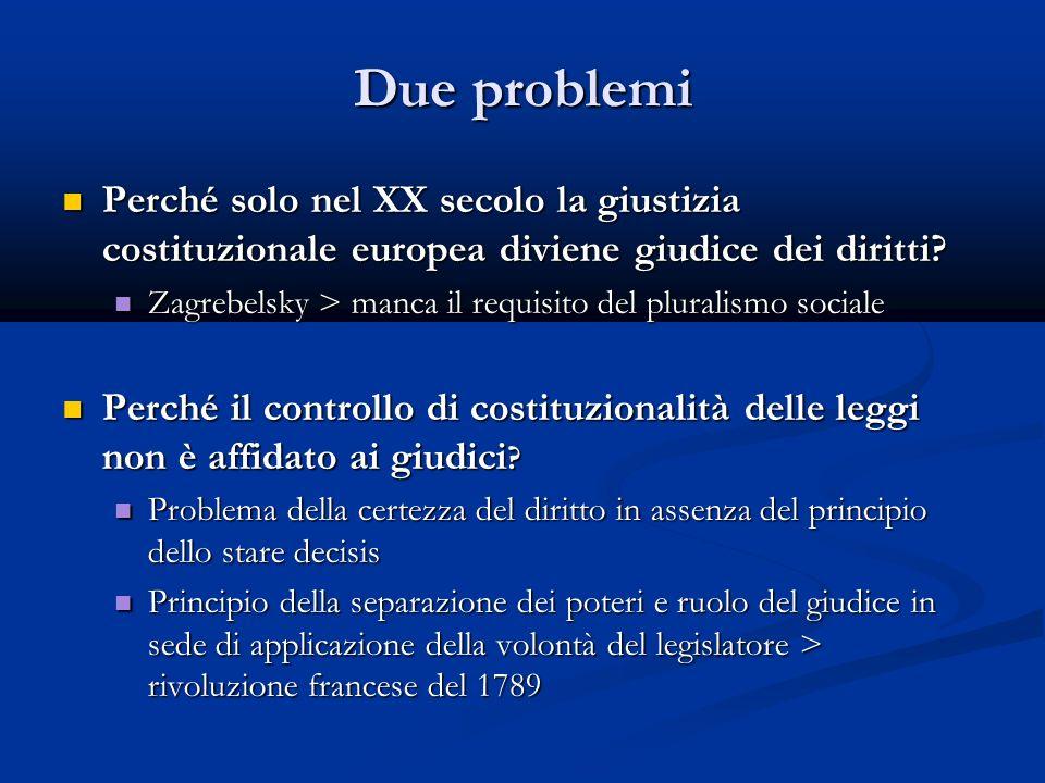 Due problemi Perché solo nel XX secolo la giustizia costituzionale europea diviene giudice dei diritti.
