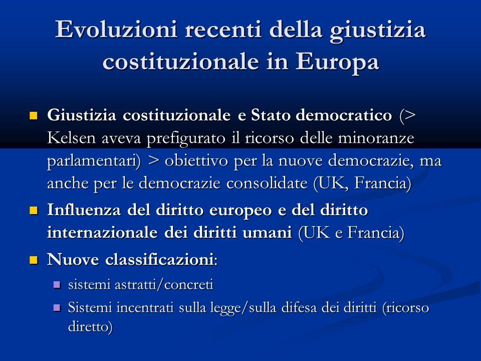 Evoluzioni recenti della giustizia costituzionale in Europa Giustizia costituzionale e Stato democratico (> Kelsen aveva prefigurato il ricorso delle minoranze parlamentari) > obiettivo per la nuove democrazie, ma anche per le democrazie consolidate (UK, Francia) Giustizia costituzionale e Stato democratico (> Kelsen aveva prefigurato il ricorso delle minoranze parlamentari) > obiettivo per la nuove democrazie, ma anche per le democrazie consolidate (UK, Francia) Influenza del diritto europeo e del diritto internazionale dei diritti umani (UK e Francia) Influenza del diritto europeo e del diritto internazionale dei diritti umani (UK e Francia) Nuove classificazioni: Nuove classificazioni: sistemi astratti/concreti sistemi astratti/concreti Sistemi incentrati sulla legge/sulla difesa dei diritti (ricorso diretto) Sistemi incentrati sulla legge/sulla difesa dei diritti (ricorso diretto)