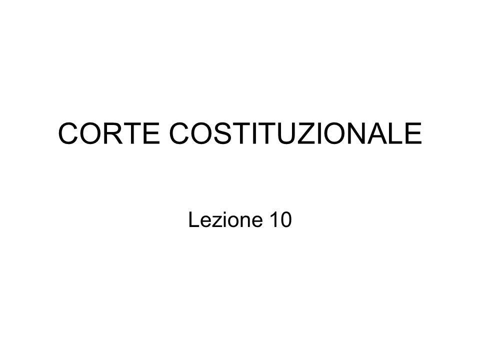 CORTE COSTITUZIONALE Lezione 10