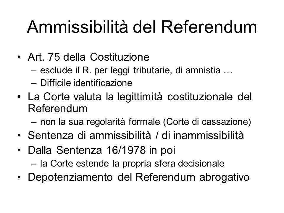 Ammissibilità del Referendum Art. 75 della Costituzione –esclude il R. per leggi tributarie, di amnistia … –Difficile identificazione La Corte valuta